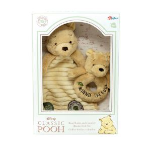 Official Disney Winnie the Pooh Gift Set - Comfort Blanket & Ring Rattle