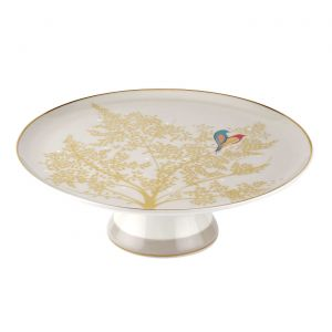 Sara Miller London Footed Cake Stand/Plate Light Grey, Chelsea Collection - 27cm
